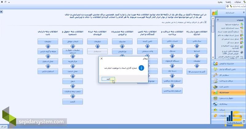 تایید شماره گذاری مجدد در تنظیمات سپیدار سیستم