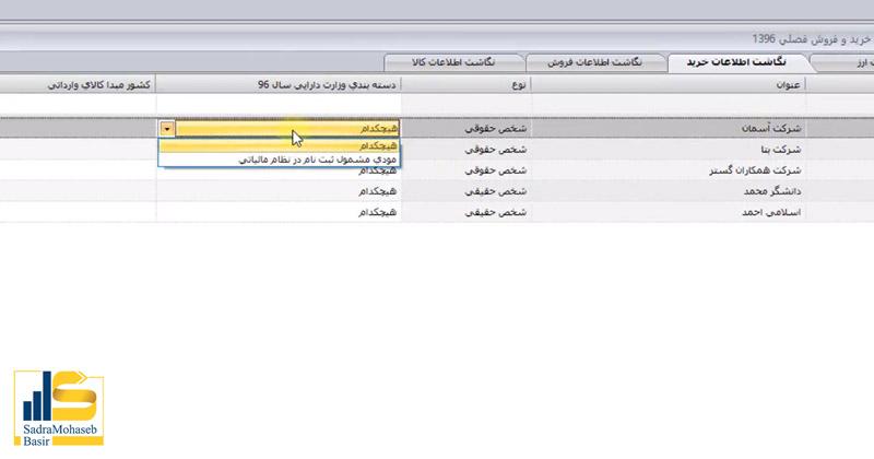 دسته بندی وزارت دارایی در نگاشت اطلاعات خرید