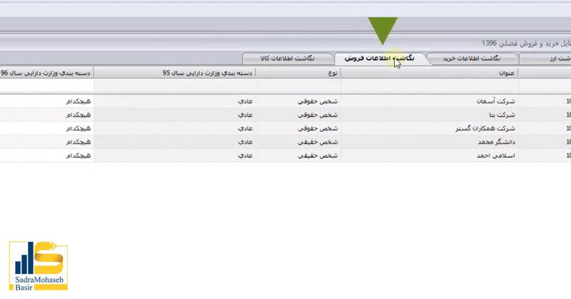 معرفی بخش های مختلف در تب نگاشت اطلاعات فروش در تنظیمات فایل خرید و فروش فصلی